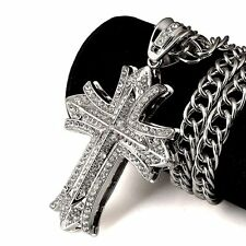 Hip-Hop18K Plated Cross Pendant Necklace Miami Cuban Full Rhinestone Jewelry