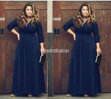 Woman Sexy Stretch V-neck Long Party Cocktail Maxi Dress Evening Gown Plus Size
