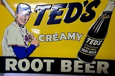 Ted's Creamy Root Beer Tin Sign /Ted Williams Boston Red Sox Baseball Soda 1991