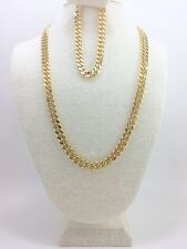 "Cuban Link Chain Set Gold Plated 24"", 30"" or 36 Inches long 8mm Wide 9"" Bracelet"