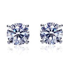 Women 14K White Gold Round Cut Cubic CZ Basket Setting Solitaire Stud Earrings
