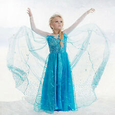 Girls Disney Elsa Frozen dress costume Princess Anna dresses cosplay party gift~