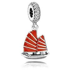 Authentic Pandora New Bead Silver Chinese Junk Ship Red Enamel Charm 791908EN09