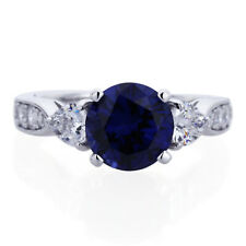 Women 8mm Platinum Plated Silver 2ct Sapphire CZ 3 Stone Engagement Ring set