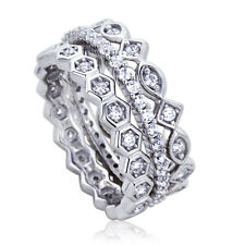 Women 8mm Platinum Plated Silver 1ct CZ Stackable Band Engagement Ring set