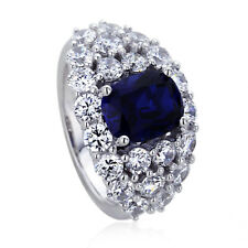 Women 11mm Platinum Plated Silver 2ct Sapphire Oval CZ Ladies Cocktail Ring set