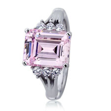 Women 10.5mm Platinum Plated Silver 3.7ct Emerald Cut Pink CZ Engagement Ring