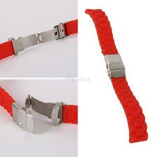 Silicone Rubber Waterproof Sport Wrist Watch Band Strap Deployment Clasp 16-24mm