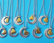 """TO THE MOON & BACK 24"""" necklace FAMILY dad son grandma sister aunt gift UK"""