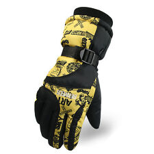 Yellow Warm Ski Gloves Fleece Thermal Skiing Snowboarding Mittens For Women
