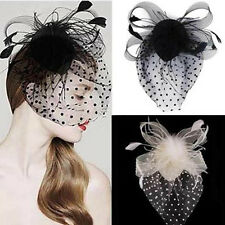 Party Fascinator Lady Veil Wedding Decor Hair Accessory Feather Flower Clip Hat