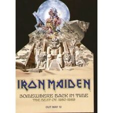 IRON MAIDEN Somewhere Back In Time FLYER Promo Shaped Flyer For Album Approx 15