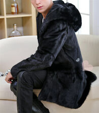 Men's 100% Real Genuine Rabbit Fur Trench Coats With Hoodies Long Jacket Outwear