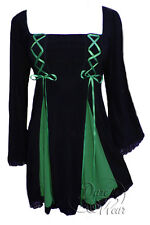 Gothic GEMINI PRINCESS Stretch Corset Style Top BLACK / EMERALD 18/20 to 26/28