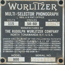 1940 Wurlitzer 800 # 464822 serial number identification plate or tag