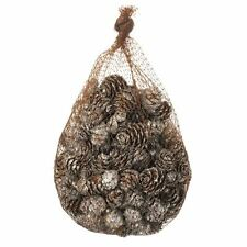 BAG OF CHRISTMAS PINE CONES SILVER GLITTER DECORATIONS NORDIC DISPLAY