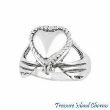 IRISH CLADDAGH HEART .925 Sterling Silver PISON PILLBOX RING SIZE 5 6 7 8 9 10