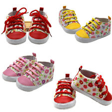 1Pair Soft Anti Skid Infant Toddler Floral Newborn Baby T-Tailed Canvas Shoes