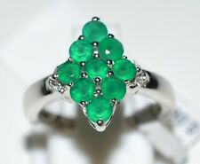 Pure 925 Solid Sterling Silver Genuine Green Onyx, White Topaz Ring Size 6.0 US