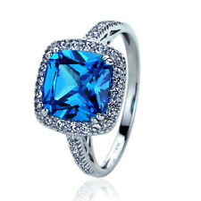 Women 14K White Gold 2.75ct Cushion Simulate Blue Sapphire CZ Halo Cocktail Ring