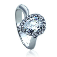 Women 13mm 14K White Gold 2 Carat Pear Cut CZ Halo Wedding Engagement Ring