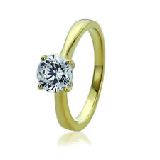 Women Fine band 7mm 14K Gold 1.25ct CZ Classic Solitaire Wedding Engagement Ring