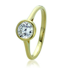 Women Fine band 14K Gold 1ct CZ Classic Bezel Solitaire Wedding Engagement Ring