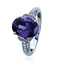 Women's Fine band 14K White Gold 5ct Oval Simulated Amethyst CZ Cocktail Ring