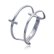 Women's Fine band 11mm 14K White Gold Double Sideway Cross Knuckle Ring Band