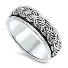 Men Women 7mm 925 Sterling Silver Band Oxidize Finish Braided Rope Spinner Ring
