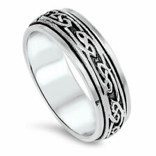 Men 6mm 925 Sterling Silver Band Oxidize Finish Infinity Design Spinner Ring