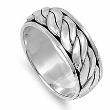Men 9mm 925 Sterling Silver Band Oxidize Finish Braided Rope Spinner Ring