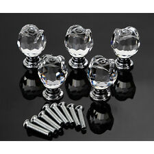 New 8 Pcs Crystal Glass Door Knobs Kitchen Cabinet Drawer Handle 22MM