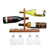 Acacia Wall Mounted Wine and Glass Rack - Bar Craft Wooden Bottle Rack