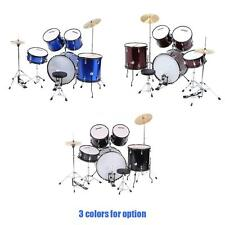 Drum Set 5 PC Complete Adult Set Cymbals Full Size New Drum Kit Starter+US Ship