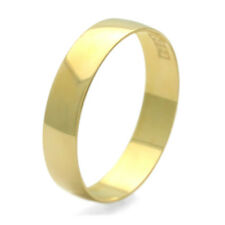 Men Women 14K Yellow Gold 4mm Classic Plain Wedding Band Ring / Gift Box