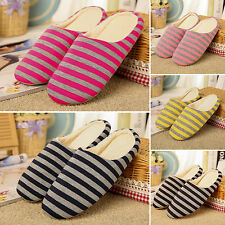 Men Women Striped Slippers Soft Winter Warm Home Sandal Indoor Shoes US 5-11