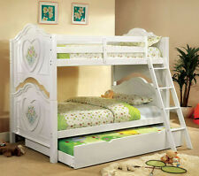 NEW BROOKE FLORAL WHITE FINISH WOOD TWIN OVER TWIN CONVERTIBLE BUNK BED TRUNDLE