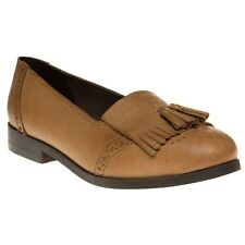New Womens SOLE Tan Igloo Leather Shoes Flats Slip On
