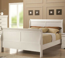 NEW CHANLEY LOUIS PHILIPPE WHITE FINISH WOOD TWIN FULL QUEEN SLEIGH BED