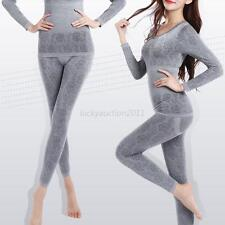 Womens Ladies Stretchy Thermal Top Bottom Long Johns Solid Pants Underwear Set