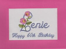 Personalised Embroidered Handmade Birthday cards Mum Granny Mother or any name.