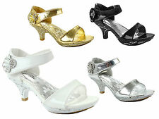 New Flower Girl Dress Shoes Pageant Wedding Heels Rhinestones Sandals Youth Kids