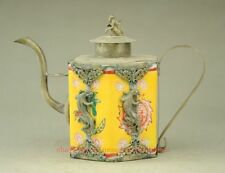 Chinese handwork inlay silver dragon yellow porcelain teapot monkey TT218