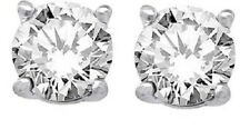925 Sterling Pure Solid Silver Stud with Natural White Topaz Round Cut Earring