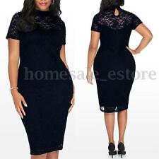 Oversized Retro Women Lace Bodycon Evening Party Formal Fitted Pencil Midi Dress