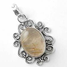 Golden Rutilated Quartz Handcrafted Pendant 925 Sterling Silver Plated cg46890