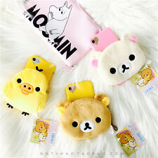 For iPhone 7 7s Plus 6 6S Plus Warm Plush Rilakkuma Bear Chick Wallet Phone Case
