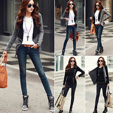 Fashion Women's Slim Blazer Black Jacket Fit Outwear Zipper  Casual Coat Jackets
