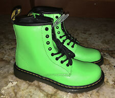 NEW Girls Sz 2 3 DR MARTENS Delaney Lime Green Black 8 Eye Lace Up Ankle Boots